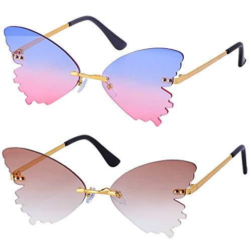 Haichen 2 Stück Frauen Schmetterling Randlose Sonnenbrille Mode Metall Vintage Brille UV400 (Tee + Blau-Pink)