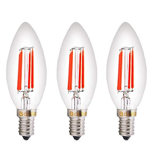 Bonlux E14 LED Kerze Birne SES Rot Glühfaden 4W Kleine Edison Screw Antike Kerze-Glühbirnen Ersatz zu 40W Glühlampe (3 Stück)
