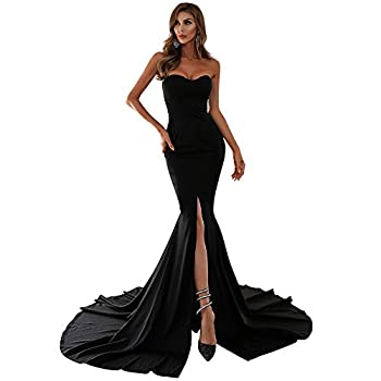 Miss ord Women s Sexy Formal Strapless Asymmetric Slit Long Evening Prom Dress Wedding Party Maxi Gown Black