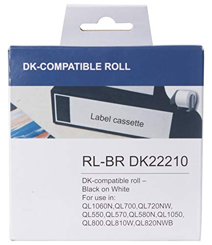 """HOUSELABELS Compatible with DK-2205 Replacement Roll for Brother QL Label Printers; Continuous Length Labels; 2-4/9"""" x 100 feet (62mm30.48m) with 1 Reusable Cartridge - 5 Rolls"""