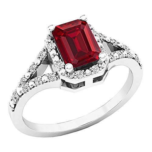 Dazzlingrock Collection 7X5 MM Lab Created Ruby & White Diamond Ladies Engagement Ring, Sterling Silver, Size 7