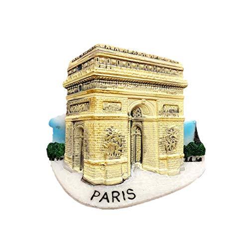 Arc de triomphe Paris France Souvenir de voyage 3D Aimant de réfrigérateur Décoration de maison et cuisine Polyrésine Artisanat Réfrigérateur Collection Aimant