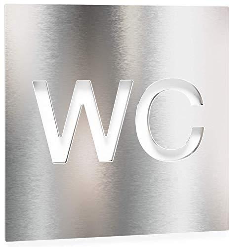 Edelstahl WC-Schild – selbstklebend & pflegeleicht – Design Toiletten-Schild – W.01.E