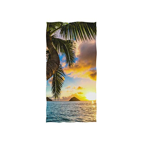 Naanle Pretty Palm Tree in Sunset Hawaii Blue Ocean Soft Bath Towel Absorbent Hand Towels Multipurpose for Bathroom Hotel Gym and Spa 30'x15'