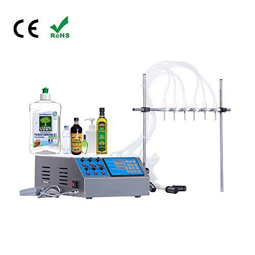 6 Köpfe Flüssigkeitsfüllmaschine, automatische digitale elektrische Steuerung Füllpumpe Wasser Getränk Likör Essig Sojasaftcreme Kosmetischer Abfüller