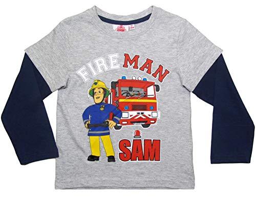 Feuerwehrmann Sam Langarmshirt Jungen Rundhalsausschnitt (Blau/Grau, 104/110)