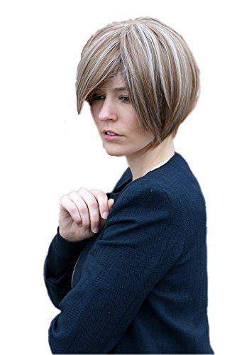 Prettyland perruque - lisse rouge-brun mixte tresses blondes face formant courte perruque de cheveux C626