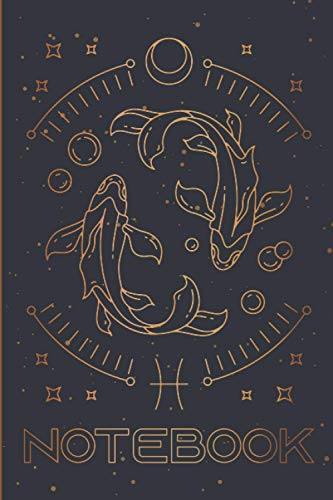 Pisces Notebook: Pisces Zodiac notebook Composition Notebook & Blank Space Astrology Journal Horoscope Book Vintage Writing Journal Pretty Gold Pretty ... Men Teenage Girl Birthday Pisces Zodiac Sign