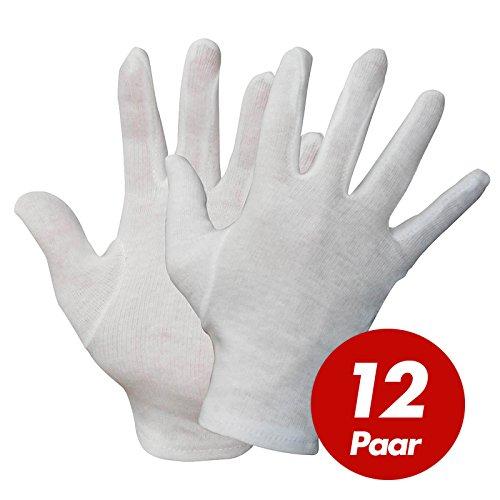 NITRAS Baumwoll Trikot-Handschuhe 531x - Unterziehhandschuhe weiß, Handschuhe fusselfrei - VPE 12 Paar, Größe:10 (XL)