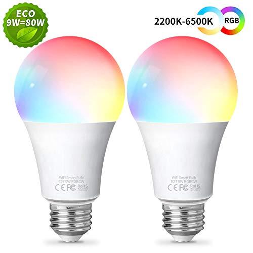 Smart LED-Lampe 9W 900LM WLAN Glühbirnen E27, 2 Stück Fitop dimmbar Warmweiß-Kaltweiß und Mehrfarbige Licht, Kompatibel mit Alexa/Google Assistant/Siri, 2200K-6500K Wifi Smart Birne, kein Hub benötigt