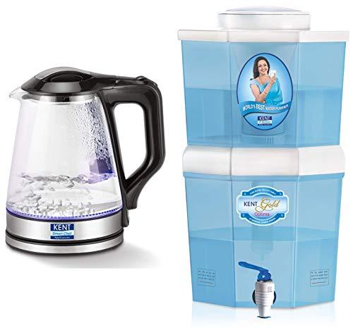 Kent 16023 1500-Watt Electric Kettle (Transparent) & KENT Gold Optima 10-litres Gravity Based Non-Electric Water Purifier (Aqua Blue/White)
