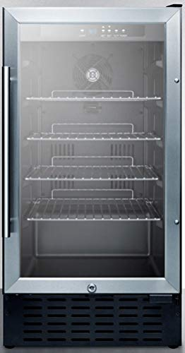 """Summit Appliance SCR1841BCSS 18"""" Wide Undercounter Glass Door All-Refrigerator with Digital Controls, Auto Defrost, Digital Thermostat, Lock, LED Light and Stainless Wrapped Steel Cabinet"""