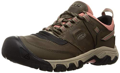 KEEN Women's Ridge Flex Low Height Waterproof Hiking Shoe, Timberwolf/Brick Dust, 10