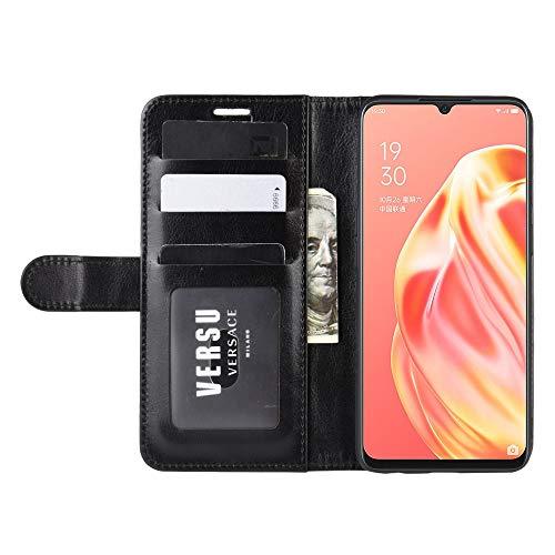 DAMAIJIA für Oppo A91 2020 Hüllen Klapphülle PU Leder Silikon Wallet Schutzhülle Schutz Mobiltelefon Flip Back Cover für Oppo F15 / Oppo Reno 3 Tasche Handy Zubehör (Black)