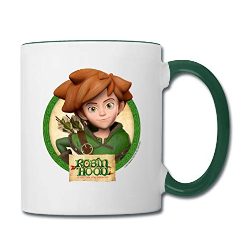 Robin Hood Schlitzohr Von Sherwood Lächelnd Tasse zweifarbig, Weiß/Dunkelgrün