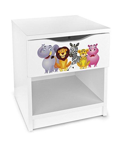 Leomark comodino moderno in legno con cassetto e scompartimento apertoin, comodino per bambini, colore bianco con motio ANIMALI ZOO GIUNGLA, dimensioni: 40cm x 38cm x 42cm (LxWxH)