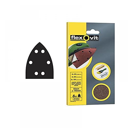 Flexovit 63642526408 Triángulos Especiales Velgrip, A203, Blíster, Medio Grano, 80 Tamaño Grano, 95 mm A x 145 mm Al, Set de 6