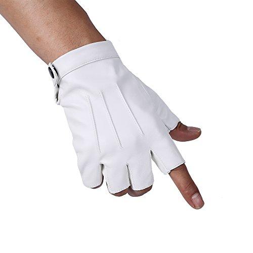 JISEN Men PU Leather Punk Half Finger Snap Performance Gloves White