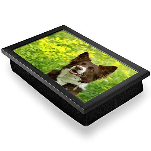 Bandeja de regazo de lujo, cómoda, funcional portátil, puf – Lindo marrón Border Collie perros animales #8628