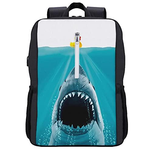 Alvaradod Zaino per laptop da viaggio,Salva Ducky Rubber Shark Animal Print,Borsa per computer antifurto resistente all'acqua Business Slim con porta di ricarica USB