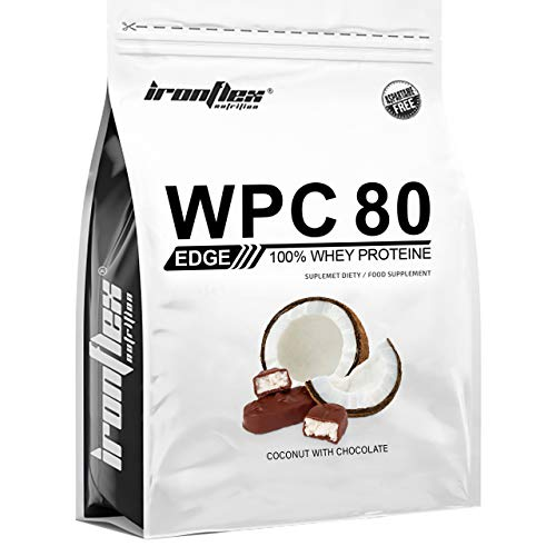 IronFlex WPC 80 Edge – 1 Pack – Whey Protein Concentrate – Full Amino Acid Profile – Cutting Edge Supplement – Zero Sugar (Coconut with Chocolate, 909g)