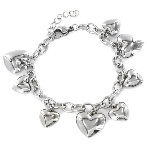 West Coast Jewelry | ELYA Women's Stainless Steel Polished Heart Charm Dangle Bracelet - 6.5'