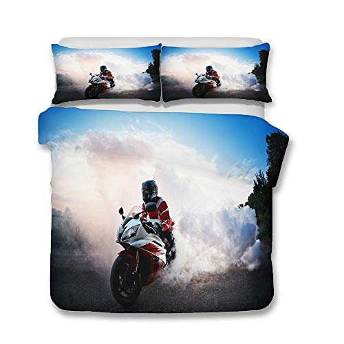 Hiser Juego de Ropa de Cama de 3 Piezas - 3D Juego de Fundas de Edredón - Niños Hombre Microfibra de 1 Funda Nórdica 2 Funda de Almohada - Impresión de Motocicleta (Motocicleta B,150x200cm)