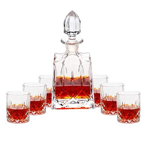 Set de Verres à Whisky avec Carafe à Décanter et Bouchon - Verre en Cristal - Bouteille de Whisky 850ml avec 6 Verres à Whiskey 300ml - 7 Pièces