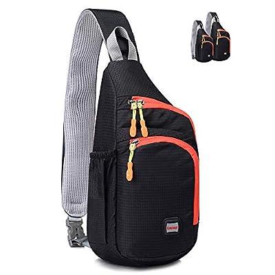 Lecxci Outdoor Chest Sling Bag Lightweight Waterproof Backpack for Kid/Man/Women(S,Black)