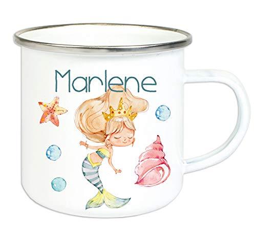 Emaillebecher für Kinder mit Wunschname Bedruckt/Tasse im Vintage Design mit Motiv und Namensdruck/Tasse 8 cm Höhe 300 ml Füllmenge (Meerjungfrau)