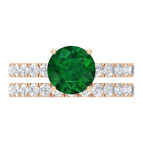 Conjunto de anillos de boda difusa esmeralda, 3,04 quilates, piedras preciosas redondas, D-VSSI Moissanite 8 mm Anillo de compromiso solitario, anillo de ajuste francés, 14K Oro rosa, Size:EU 62