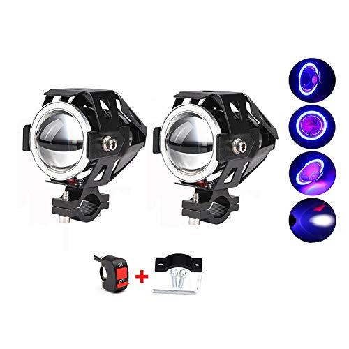 Motorrad Scheinwerfer Led Nebellicht,2pcs Zusatzlampe Zusätzliche Lichter,125w 3000lm Cree Spotlight,universal 3-tastenschalter Rot
