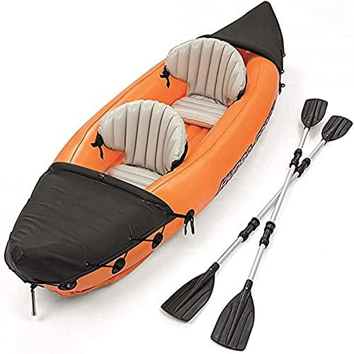 KUANDARMX Kayak, Juego De Kayak Inflable para 2 Personas con Remos De Aluminio Y Bomba De Aire, Bote A La Deriva Plegable Resistente Al Desgarro para Lagos, Pesca Y Costa