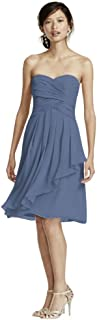 Short Crinkle Chiffon Bridesmaid Dress with Front Cascade Style F14847