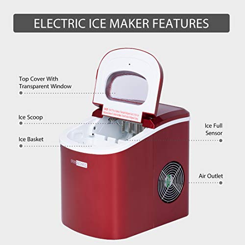 VIVOHOME Electric Portable Compact Countertop Automatic Ice Cube Maker Machine 26lbs/day Red ETL Listed