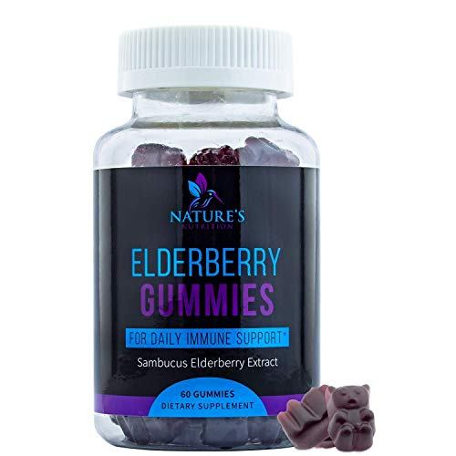 Elderberry Gummies Max Strength Sambucus Gummy Vitamins - Natural Immune Support - Vegan Herbal Supplement for Kids and Adults - 60 Gummies