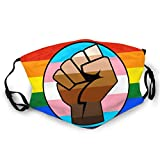 Unisex Face Cover Windproof Anti Dust Warm Protective Washable Reusable Balaclava Adjustable Straps Mouth Cover LGBT Gay Trans Pride BLM Fist Flag Black