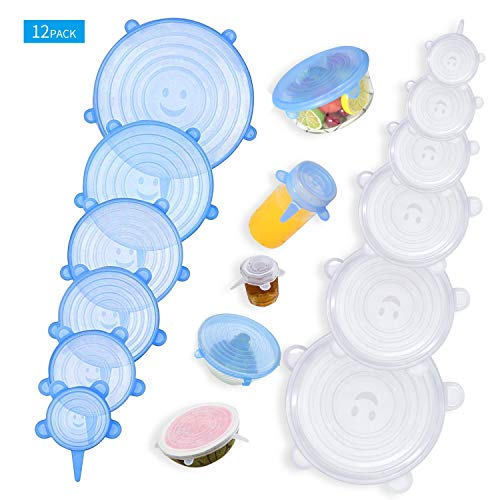 el/ástico Silicone Lids Silicone 6 en Various Sizes Silicone Stretch Lids Healthy and Airtight Silicone Lid for Bowls Reusable 12 PCS Stretchy Silicone Lid fuerte