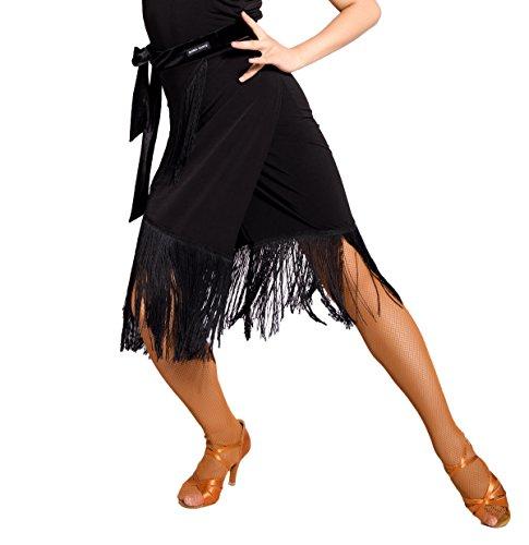 SCGGINTTANZ G2031 Latin Latein Moderner Der Ball Tanz Gesellschaftstanz Professionell Quasten nähen Samt Krawatte Rock (Schürze Stil) (Free-Size, (SBS) Black)
