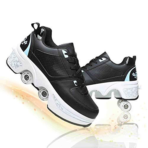 Fbestxie Deformación Patines De Ruedas Ajustable Cuatro Ruedas Polea Zapatos para Niños Invisibles De Doble Fila Automático Telescópico Patines,Black Blue,36