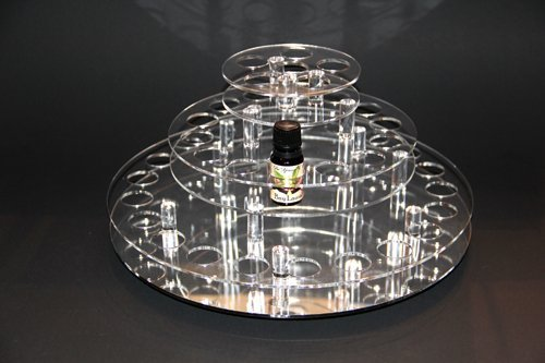 Essential Oil Carousel Storage Display Rack for 10ml Bottles - 3 Tiered - Clear w/Mirrored Base