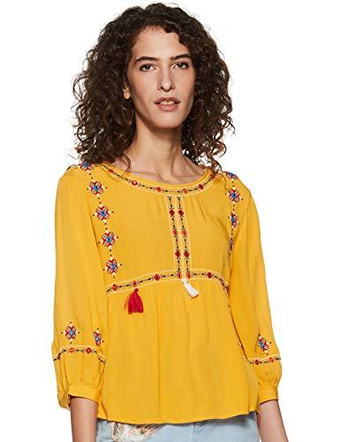 DJ&C by FBB Women's Plain Regular fit Shirt (DJWV 981_Mustard...