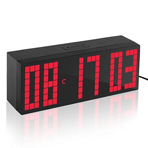 Yosoo Alarma Big Time Relojes LED Digital Reloj Grande LED Alarma Tiempo Relojes Digital Cuenta Atrás Adelante Reloj con Controlador Remoto (Rojo)