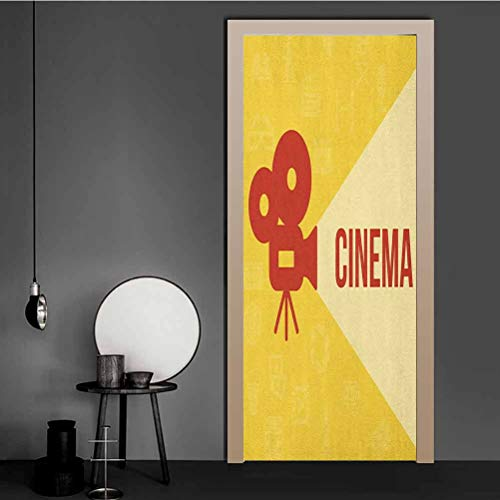 Wall Decor Sticker Projector Silhouette with Cinema Quote Movie Symbols Background Removable Vinyl Door Wall Mural Originality Stickers Gift Dark Coral Beige Yellow 43.5x200 CM