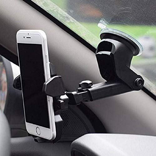 Ceuta® Adjustable Mobile Holder/Mobile Stand/Car Stand with Quick One Touch Technology for Mobiles Phones (Black)