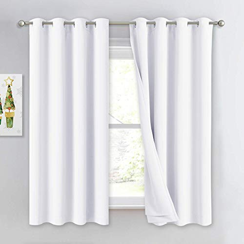 NICETOWN Sound Blocking White 100% Blackout Lined Curtains, 3 Thick Layers Completely Blackout Noise Reducing Window Treatment Insulated Drapes for Bedroom (1 Pair, 52 Width x 63 Length Each Panel)