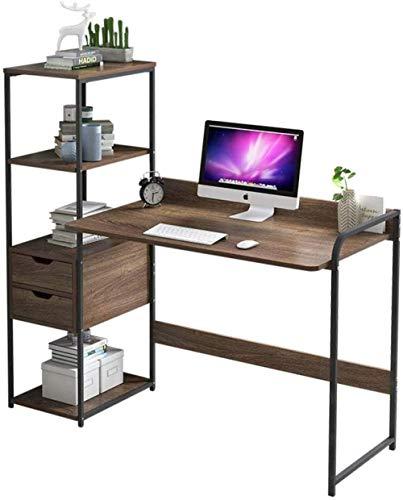 DXX Computadora de escritorio con estantes Tabla Informática Escribir mesa de estudio Compact PC portátil Escribir Estudiar multifunctinal estación de trabajo 115X40X121Cm