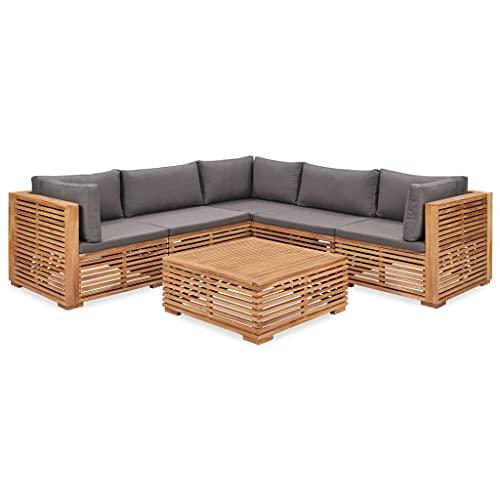 vidaXL Madera Maciza Teca Juego de Muebles de Jardín 6 Piezas y Cojines Conjunto Sillas Asientos Sofás Mesa Mesilla Comedor Exterior Terraza Aire Libre