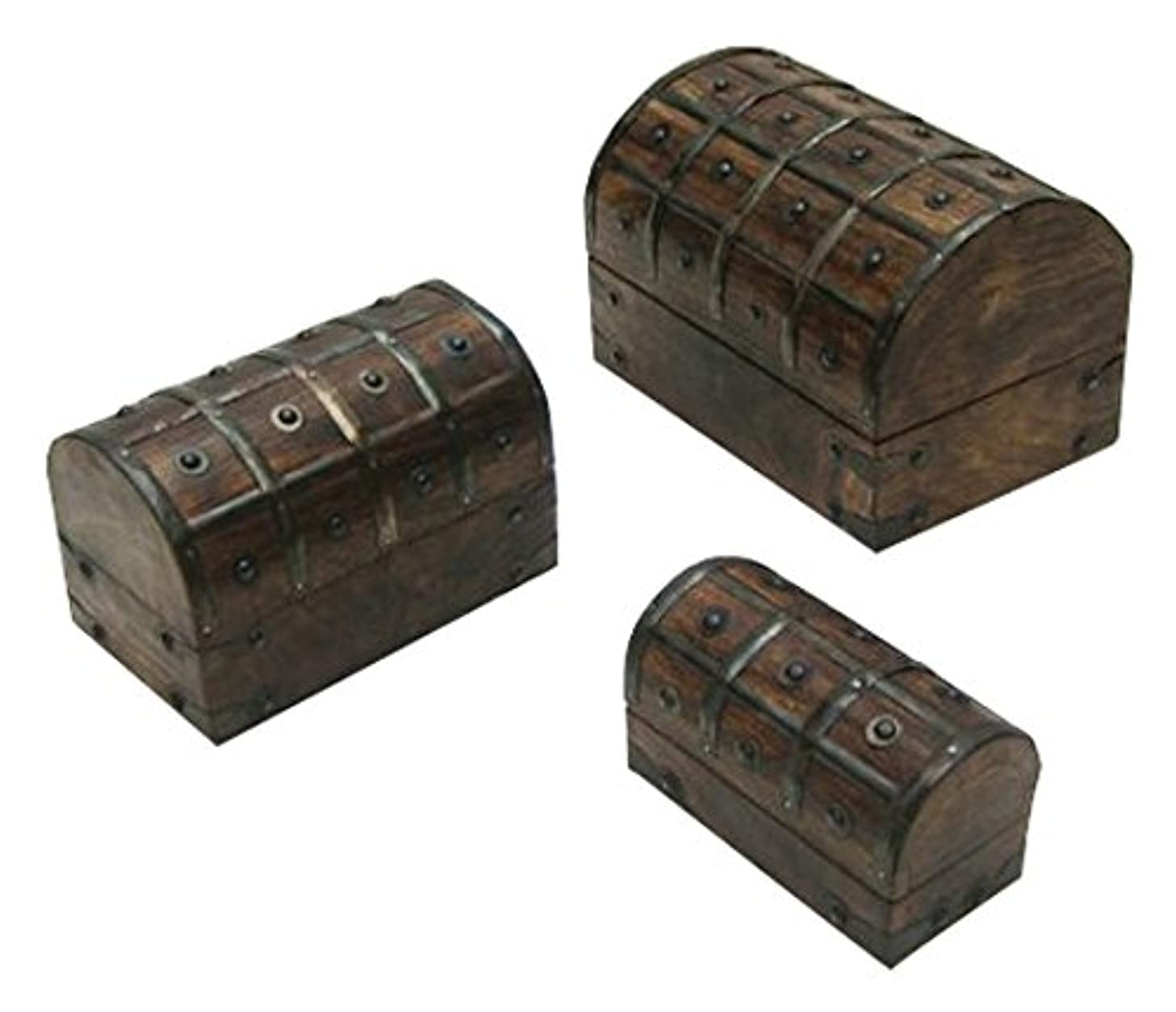 Benzara Debrecen Nested Pirate Chest Set, Fetching and Long-Lasting Home Decor