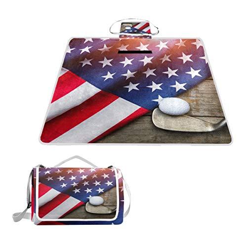 LZXO Jumbo Picknickdecke faltbar Golf Ball USA Flagge Holz groß 145 x 150 cm wasserdichte handliche Matte Tragetasche Kompakte Outdoor Matte mit Griff